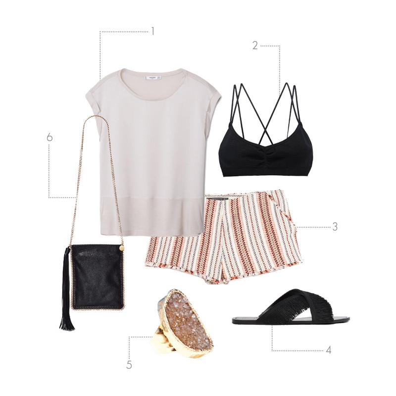 Summer Outfit   Sheer Top + Short Shorts