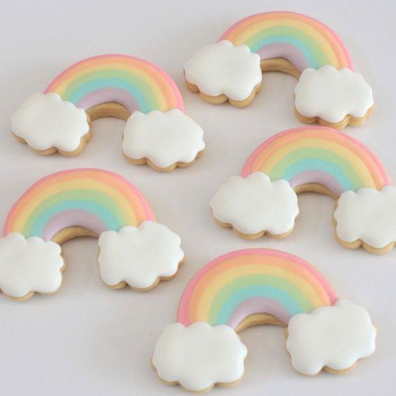 pastel rainbow cookies for a first birthday celebration