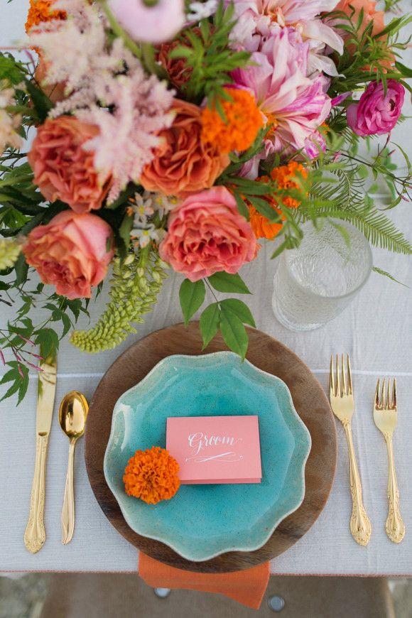 palm springs wedding // orange and teal place setting