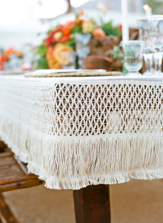 palm springs wedding // crochet table cloth