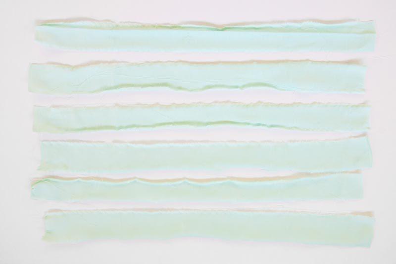 mint cloth strips for diy garland