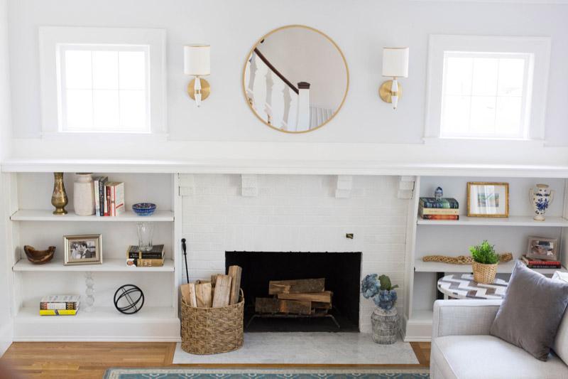 east coast craftsman living room fireplace