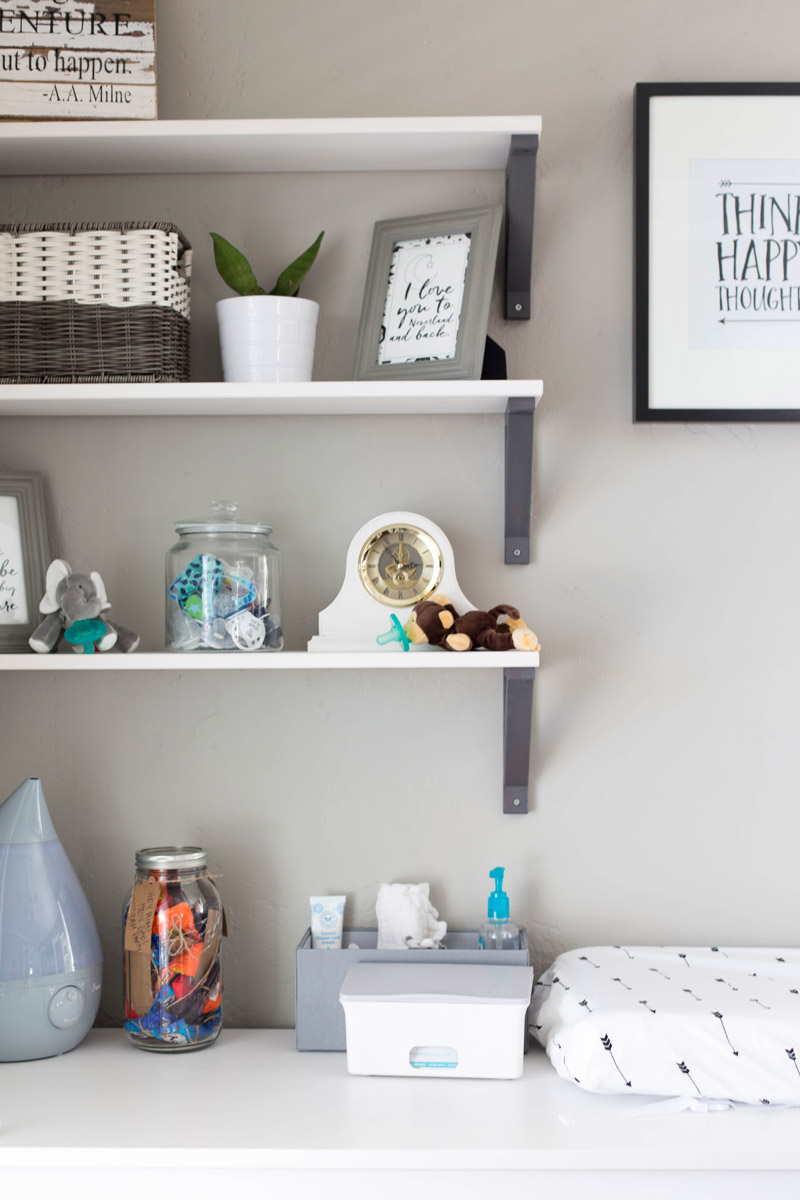 Baby boy's gray nursery