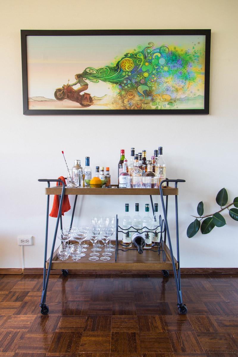 retro boulder apartment living room bar cart