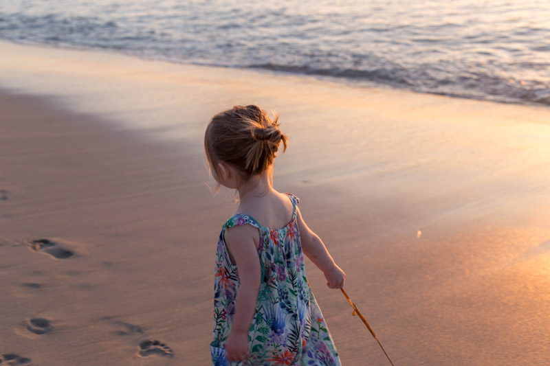 little girl, san diego beach sunset