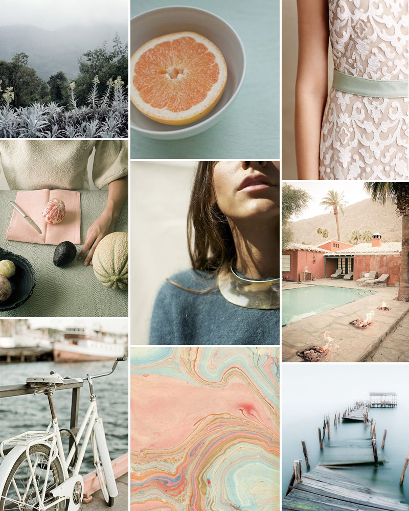 pink and mint moodboard